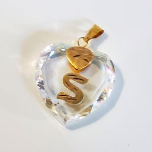 Heart shape ♥ 10kt gold and crystal